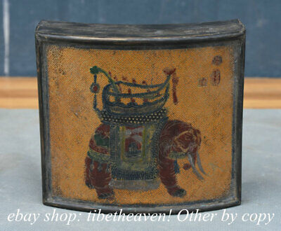 """5.2"""" Old China Bronze Lacquerware Dynasty Palace Elephant Lucky Jewelry box"""