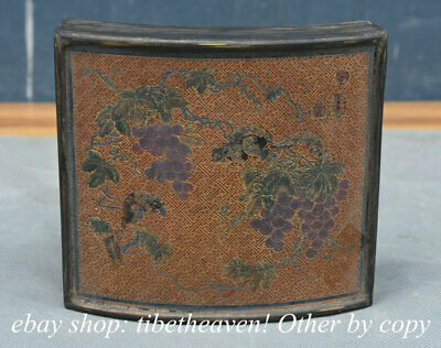 """5.2"""" Old Chinese Bronze Lacquerware Palace Grape Flower Squirrel Jewelry Box"""