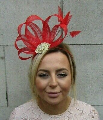 Bright Red & Gold Fascinator Feather Sinamay Hair Races Wedding Headpiece 7877