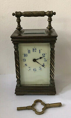 Antique French Brass Carriage Clock - Enamel Dial @ 1880 - Key
