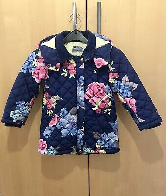 Joules Girls Blue Floral Quilted Coat Age 5