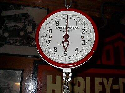 Vintage  Detecto Red & White Hanging Produce Scale with white and red scoop