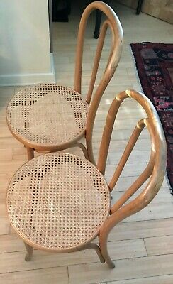 Vintage Thonet Bentwood Cafe Chairs (2) Blonde Wood Cane Seat Stamped Thonet