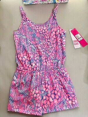 Lilly Pulitzer NWT Girls Cady Tie Strap Romper Pink Sorbet High Altitiude $48