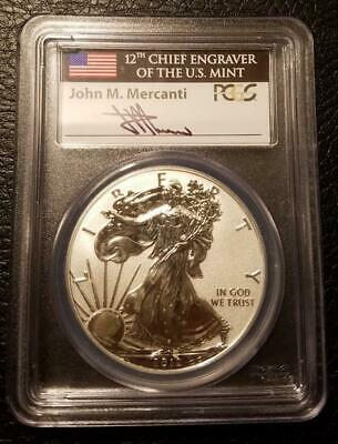2012-S Reverse Proof American Silver Eagle : PCGS PR69: Mercanti Signed