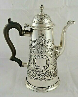 SUPERB ANTIQUE SOLID SILVER BRITANNIA COFFEE POT QUEEN ANNE c1710 643 g