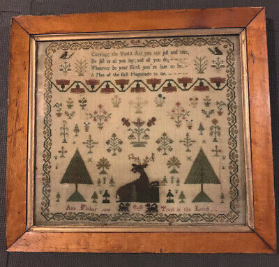 antique 1818 Ann Fisher PA Sampler In Old Frame