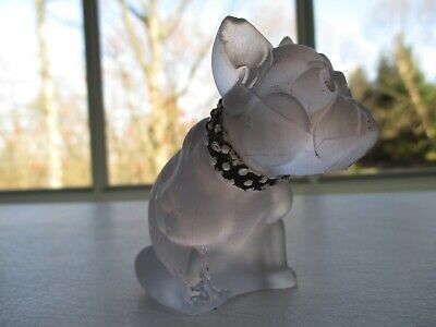 Antique Westmoreland Frosted Glass French Bulldog Figurine - Damaged