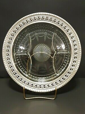 Incredible Gift Wallace Sectional Serving Platter Sterling Silver 925 and Glass