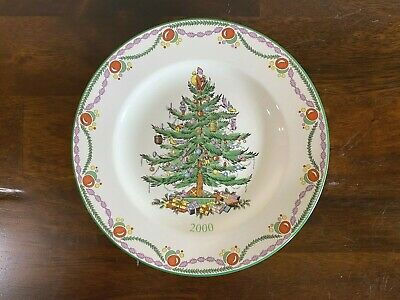 """Spode 2000 Christmas Tree Year Plate Garland 7 1/2"""" Salad Appetizer plate annual"""