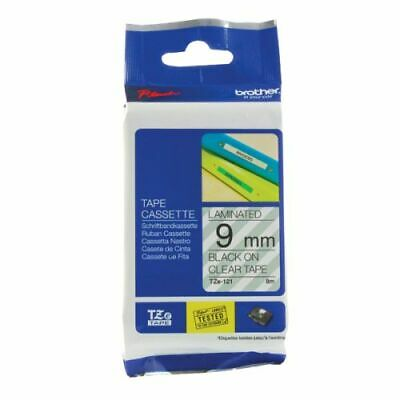 Brother P-Touch 9mm Black on Clear TZE121 Labelling Tape