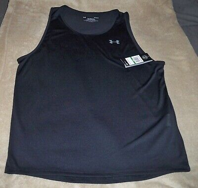 Nwt Mens Large Under Armour Black Sleeveless Tank Top Shirt
