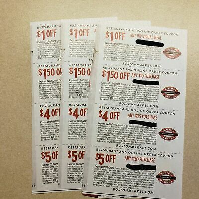 ❤NEW (2 SHEETS) 8 BOSTON MARKET COUPONS Restaurant/Online 1/18/20 ~ SAVE $23.00!