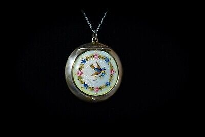 EXQUISITE Antique *STERLING ENAMEL GUILLOCHE* Floral BIRD Compact NECKLACE
