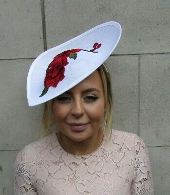 White Red Rose Floral Teardrop Fascinator Hat Headband Races Flower Large 7883