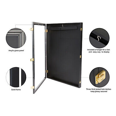 "31.4"" UV Jersey Shadow Box Wall Display Case Frame Lockable Cabinet Football"