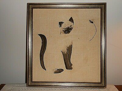~ Rare ~ Vintage ELSA WILLIAMS Completed Crewel Embroidery SIAMESE CAT & BEE Pic
