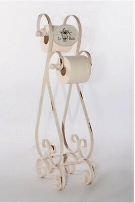 """Le Bain"" Shabby Chic Free Standing Double Toilet Roll Holder"