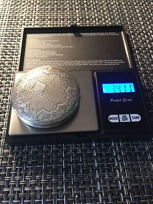 antique 830 Silver Compact Mirror 34g Marked LG