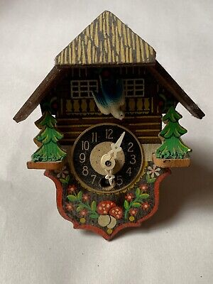 "5"" Dusty Wood German Vintage Clock with Bird Trees Mushrooms 🍄 Made In Germany"