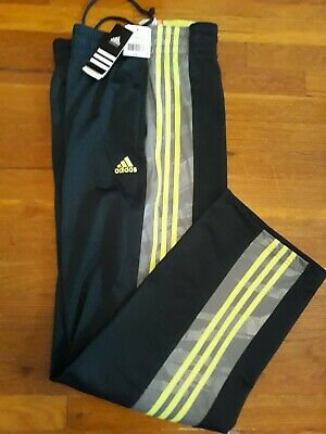 Adidas Men's Basketball Track Pants Size XL Navy Blue with 3 Yellow Stripes New