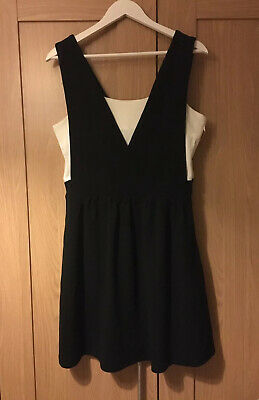 Black White Pinafore Dungaree Skater Dress New Size L (12/14)