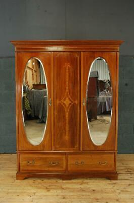Antique Edwardian Mahogany Mirror Door Wardrobe