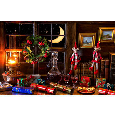5x7ft Vinyl Red Wine Gift Window Christmas Photo Backdrops Photography