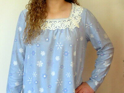 Blue Fleece Nightgown Long Sleeve Charter Club LARGE / XLarge Snowflakes NWT