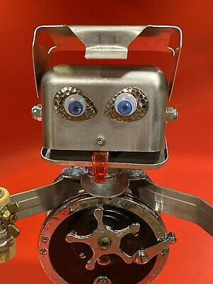 Fishing Found Object Robot. Mixed media art Metal Sculpture. Gift For Fisherman