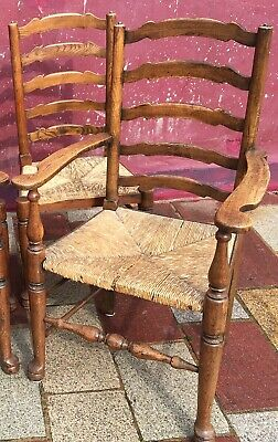 Stylish Antique Ladderback Cotswold Oak Carver Dining Chair -Rush Seat -Glasgow