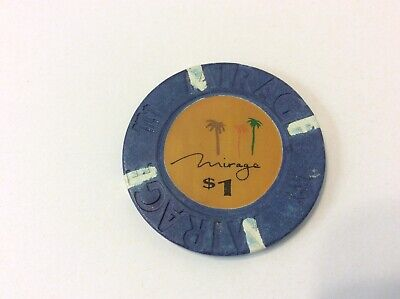 LAS VEGAS NV $1 MIRAGE HOTEL CASINO POKER CHIP BLUE Vintage