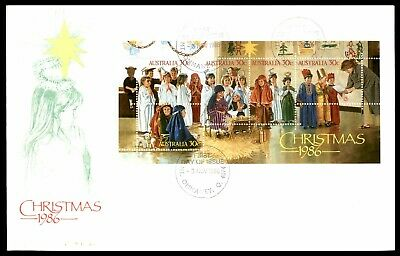 MayfairStamps Australia FDC 1986 Christmas Souvenir Sheet Holiday First Day Cove