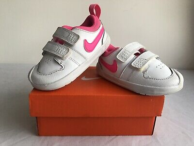 Girls Infant Size UK 5.5 Nike Pico White & Pink Trainers Boxed Double Strapped