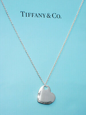 Tiffany & Co Sterling Silver Two 2 Hearts Charm Pendant Necklace 16 Inch