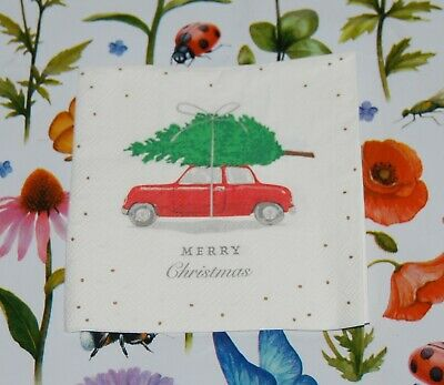4 x Single Paper Table Cocktail Napkin/3-Ply/Decoupage/Merry Christmas/Red Car/