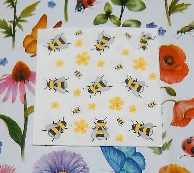 4 x Single Paper Table Cocktail Napkin/3-Ply/Decoupage/Bees/Honey Bees/Flower
