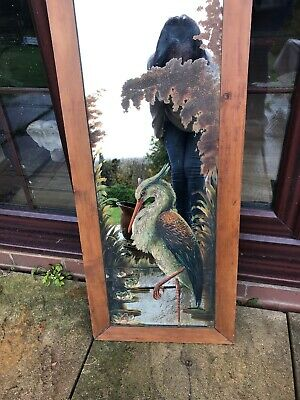 """Large Antique Victorian Hand Painted Mirror Heron Lily Pads Oak Frame 40"""" X 17"""""""