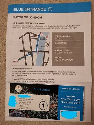 London New Years Eve 2019/20 Blue Area NYE Fireworks Ticket Entrance 1 Victoria