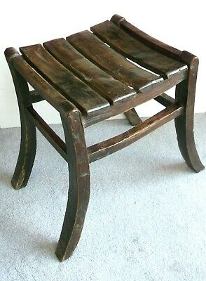 Wooden Stool - Antique, 19Th Century Or Earlier, Rustic Country Made