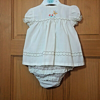VINTAGE Baby Girl 0 - 6 Months Cream Dress and Jam Pants Set