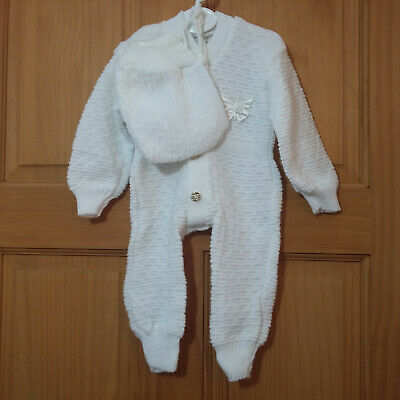 VINTAGE Baby Girl Age 0 – 3 Months Knitted Pramsuit and Bonnet