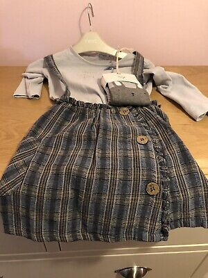 Next Girls Checked Dress / Skirt, Blue Top & Tights Three Piece Set 2-3 Years