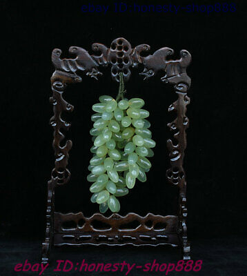 100% China Dushan Natural Old Xiu Jade Hand-Carved Exquisite Grape Fruits Statue