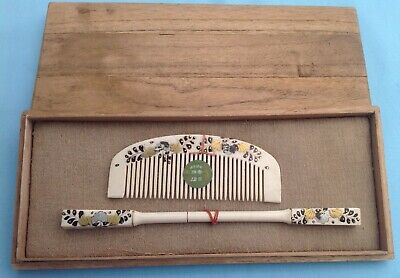 H2665 Hand Painted Antique Japanese Hair Ornament Set Boxed