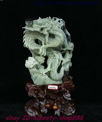 Chinese Dushan Natural Xiu Jade Hand-Carved Animal Dragon Beast God Loong Statue