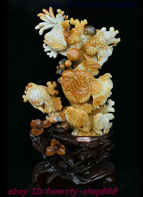 China Dushan Xiu Jade Hand-Carved Flower Fish Coral Exquisite work of art Statue