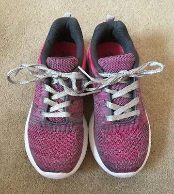 F&F Girls Pink / Grey Mesh Trainers - Size 12 / 31 - VGC