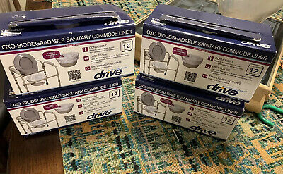 DRIVE MEDICAL OXO-BIODEGRADABLE SANITARY COMMODE LINERS  Lot Of  4 Boxes