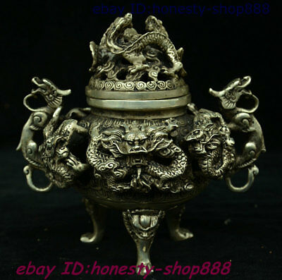 Collect China Dynasty Silver Dragon Pixiu Beast Incense Burner Censer Box Statue